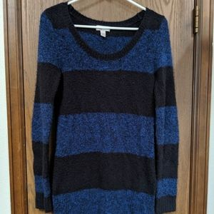 Striped Black and Blue Junior Sweater Dress